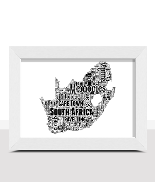 Personalised South Africa Word Art Map Travel