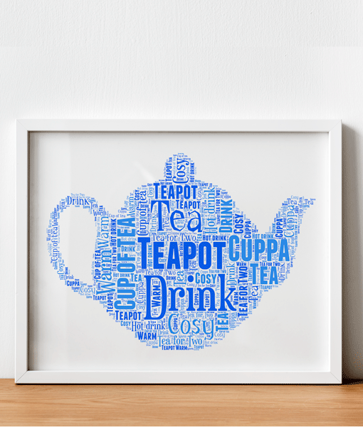 Personalised Teapot Word Art Print Food And Drink