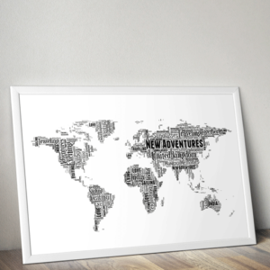 Personalised World Map – Word Art Print Travel