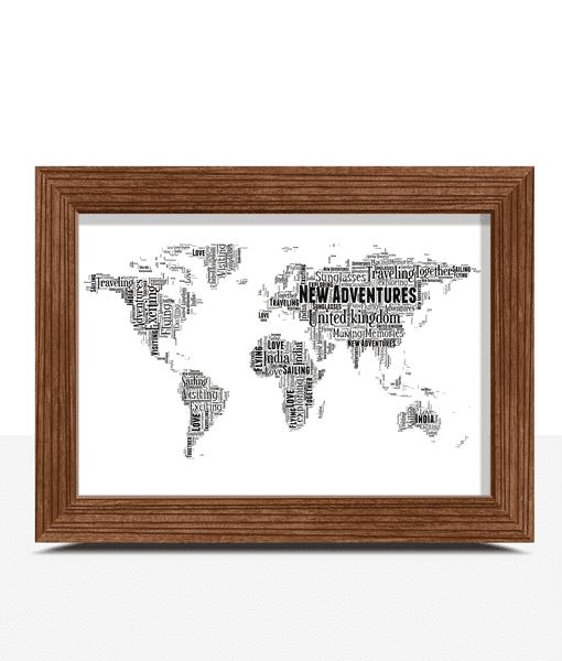 Personalised World Map Word Art Print Travel