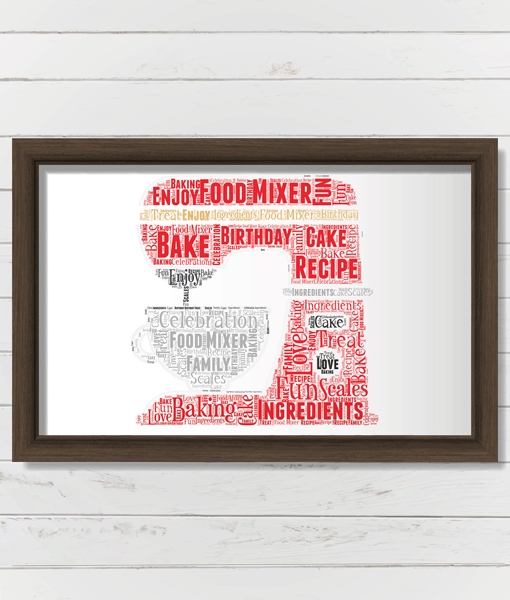 Personalised Chef Food Mixer Word Art – Baker Gift Food And Drink