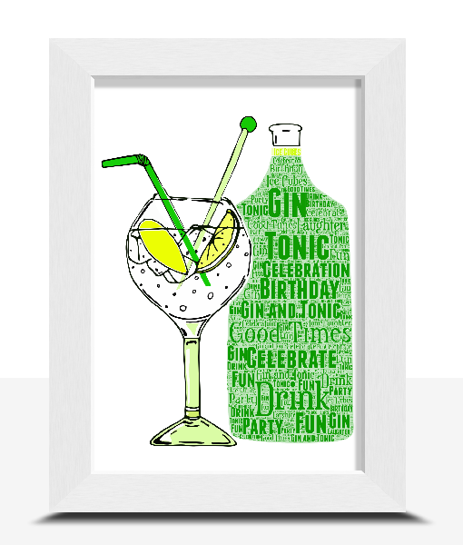 Personalised Gin And Tonic Word Art Print Food And Drink