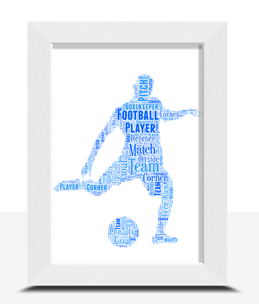 Personalised Male Football Player – Word Art Gift Football Gifts
