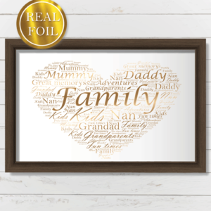 Personalised Love Heart Word Art – Metallic Foiled Print Engagement Gifts