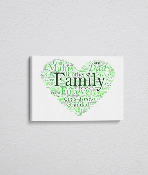 Personalised Love Heart Word Art – On Canvas