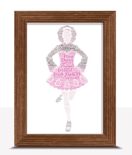 Personalised Irish Dancer Word Art Gift Dance Gifts