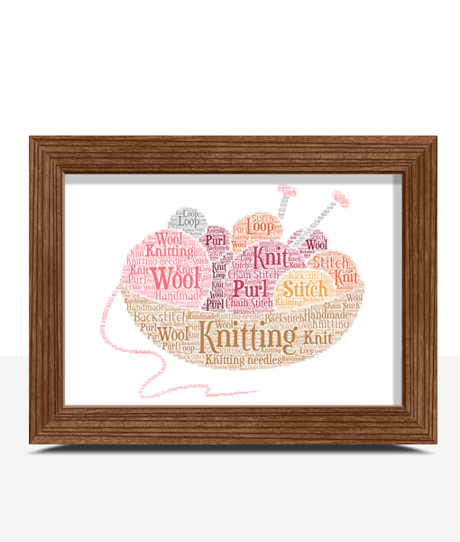 Personalised Knitting Word Art – Knitter Gift