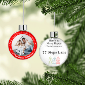 New Home – Personalised Christmas Photo Bauble Gift Christmas