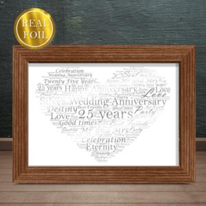 Silver Wedding 25th Anniversary Gift – Metallic Foiled Word Art Print Anniversary Gifts