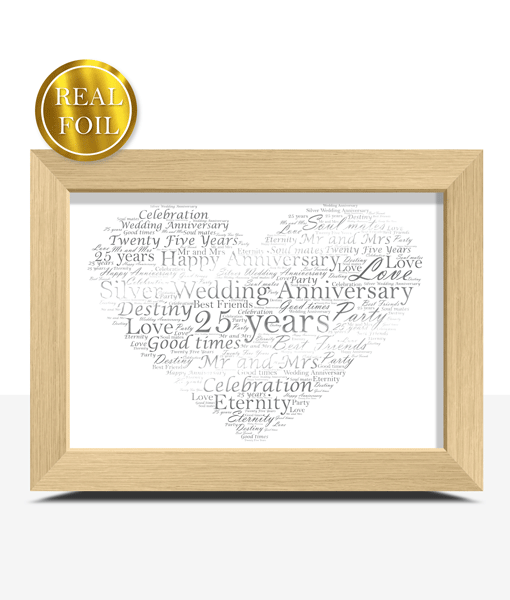 Silver Wedding 25th Anniversary Gift – Metallic Foiled Word Art Print Anniversary Gifts
