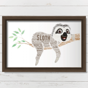 Personalised Sloth Word Art Print Animal Prints