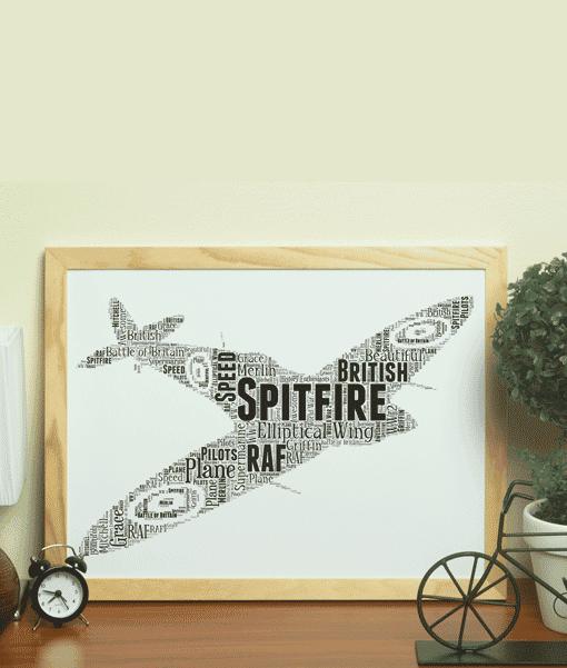 Personalised RAF Spitfire Plane Word Art Travel