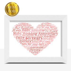 Ruby Wedding 40th Anniversary Gift – Metallic Foiled Word Art Print Anniversary Gifts