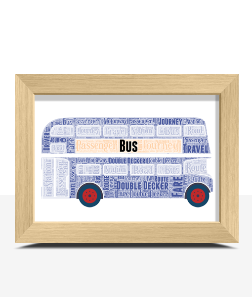Blue Double Decker Bus Word Art Travel