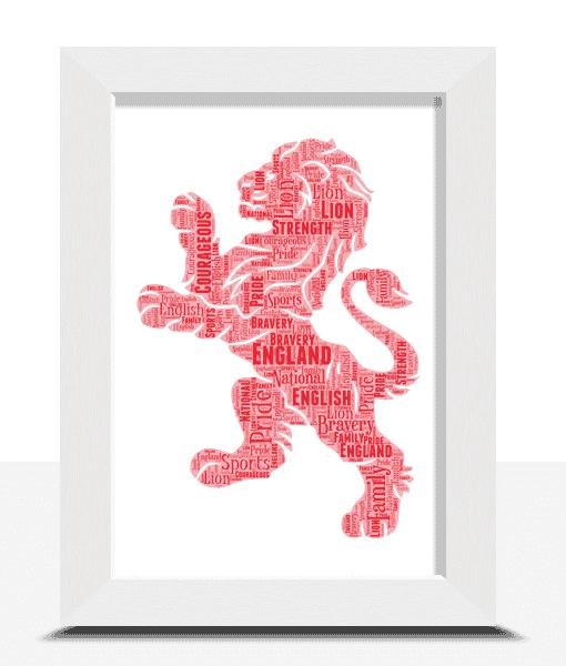 English Red Lion Word Art Print