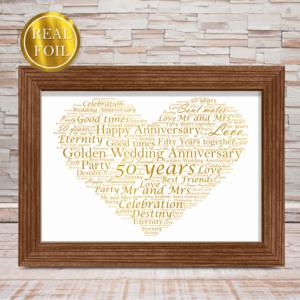 Golden Wedding 50th Anniversary Gift – Metallic Foiled Word Art Print Anniversary Gifts