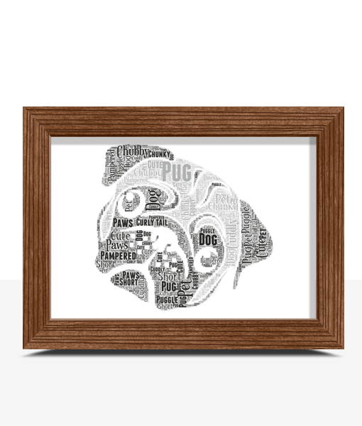 Pug Dog Face Word Art Print Animal Prints