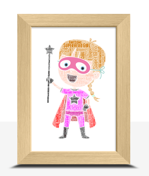 Personalised Supergirl Super Hero Word Art Gifts For Children