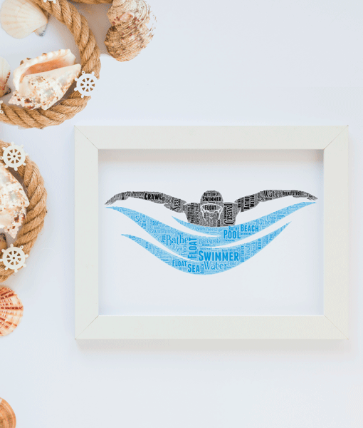 Personalised Swimmer Word Art Print Sport
