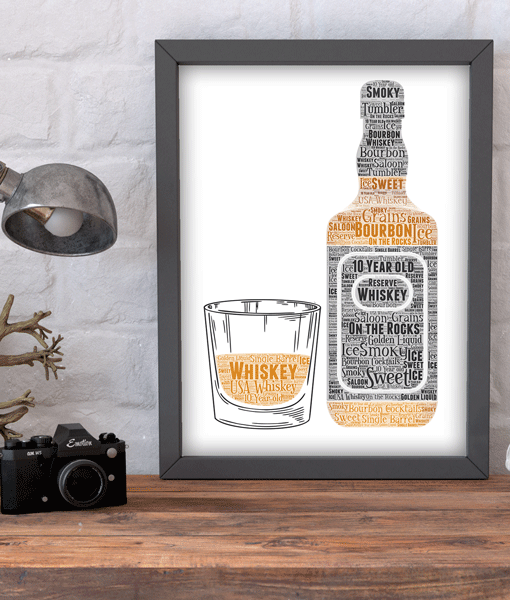 Bourbon Whiskey Bottle and Glass Word Art Food And Drink