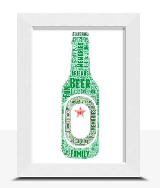 Personalised Green Beer Bottle Word Art Food And Drink