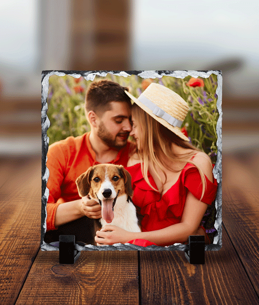 Personalised Square Rock Photo Slate – With Stand Anniversary Gifts