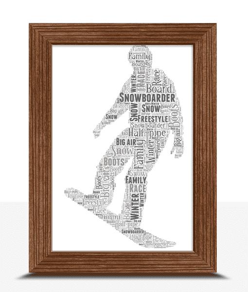 Snowboarding Word Art – Personalised Snowboarder Gift Sport