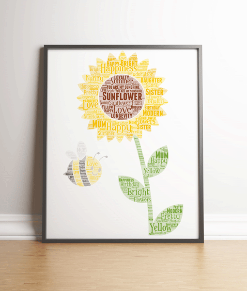 Personalised Sunflower Word Art