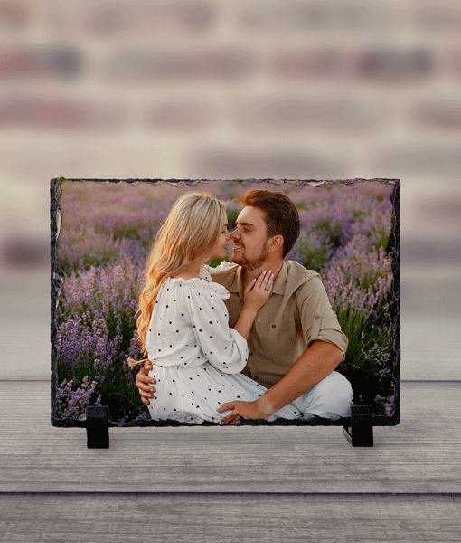Personalised Rectangle Rock Photo Slate – With Stand Anniversary Gifts