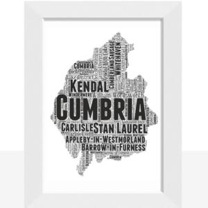 Personalised Cumbria Word Art Map Travel