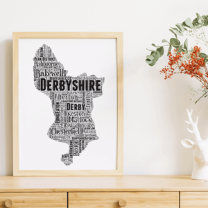Personalised Derbyshire Word Art Map Travel