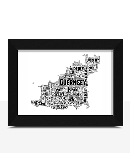 Personalised Guernsey Word Art Map Travel