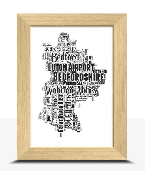 Personalised Bedfordshire Map Word Art Print Travel