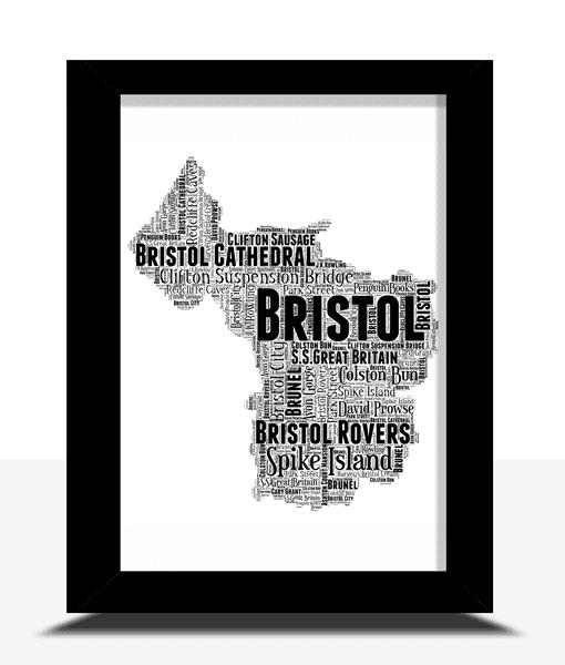 Personalised Bristol Word Art Map Travel