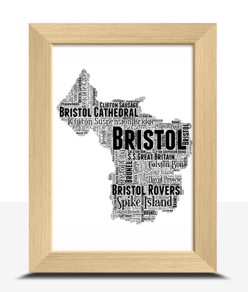 Personalised Bristol Word Art Map Travel