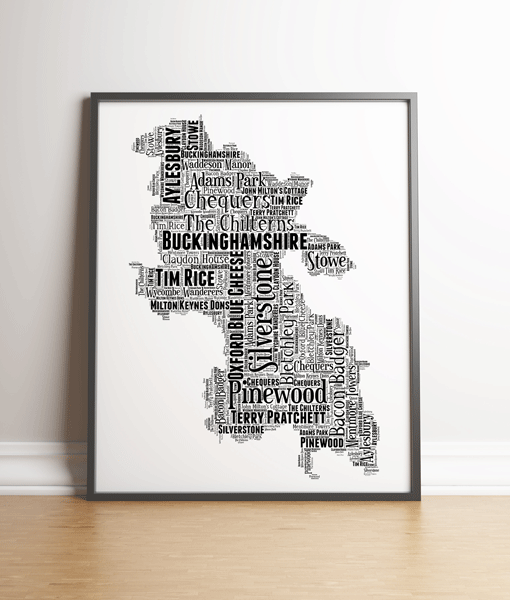 Personalised Buckinghamshire Word Art Map Travel