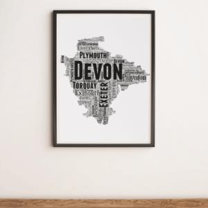 Personalised Devon Word Art Map Travel