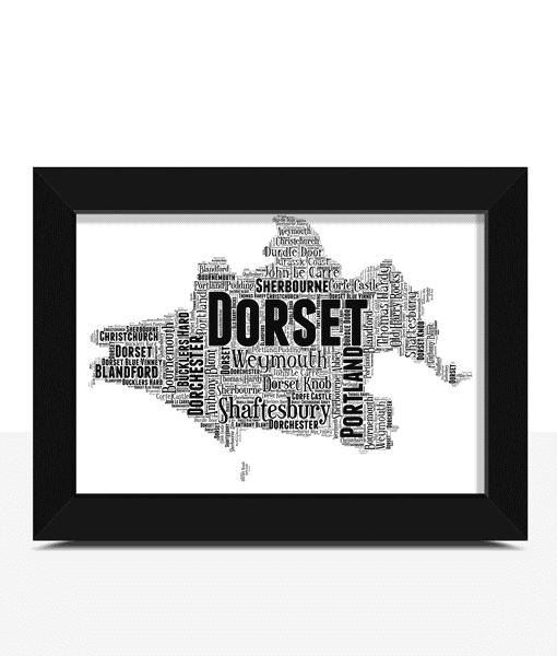 Personalised Dorset Word Art Map Travel