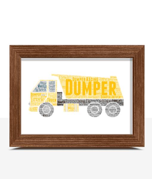 Personalised Dumper Truck Word Art Gifts For Children