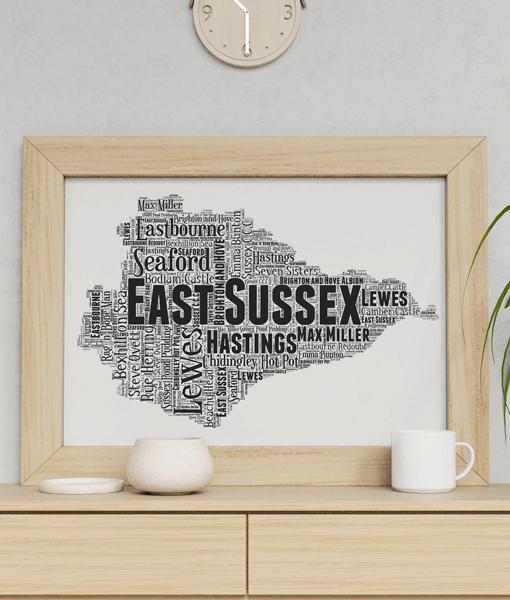 Personalised East Sussex Word Art Map Travel