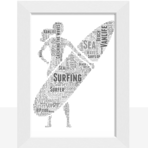 Personalised Female Surfer Word Art Gift Sport