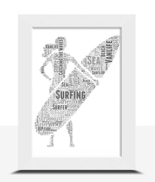 Personalised Female Surfer Word Art Sport