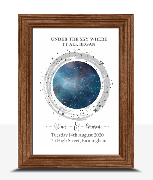 Personalised Night Sky – Star Map Gift Anniversary Gifts