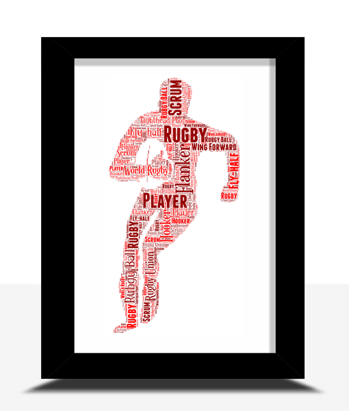 Personalised Rugby Player Word Art Gift Sport