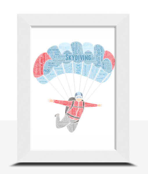 Skydiving Personalised Word Art – Skydiver Gift Sport