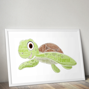 Personalised Turtle Word Art Print Animal Prints