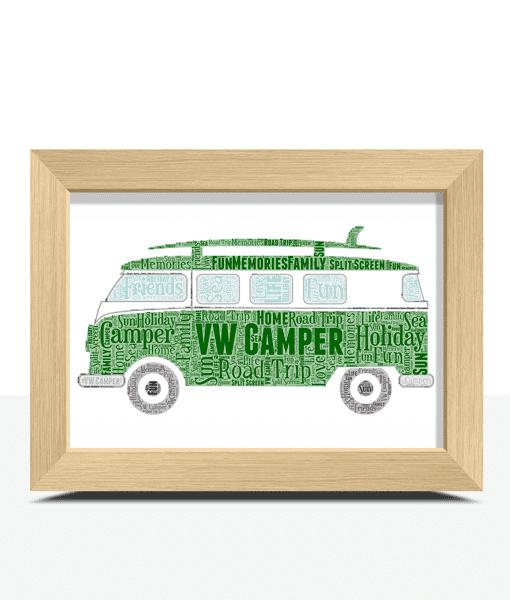 Personalised VW Style Campervan – Side View – Word Art Travel
