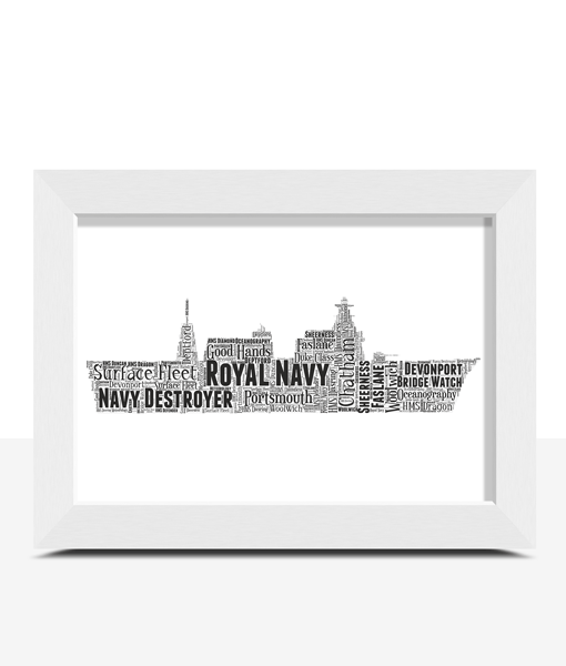 Royal Navy Destroyer – Personalised Word Art Gift Military Gifts