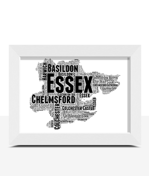 Personalised Essex Word Art Map Travel