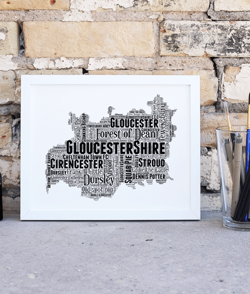 Personalised Gloucestershire Word Art Map Travel